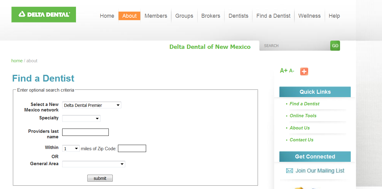 Picture of Find a Dentist interface.